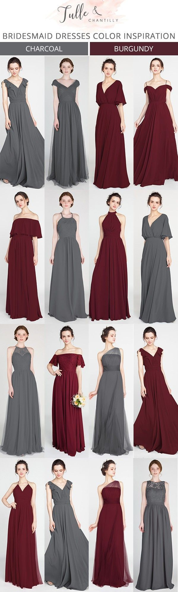 burgundy and charcoal grey bridesmaid dresses #bridalparty #bridesmaiddresses #weddinginspiration #weddingcolors