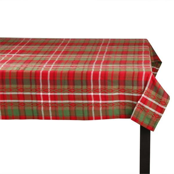 This traditional holiday tablecloth in a green and red plaid is a classic combination, perfect for any decor.