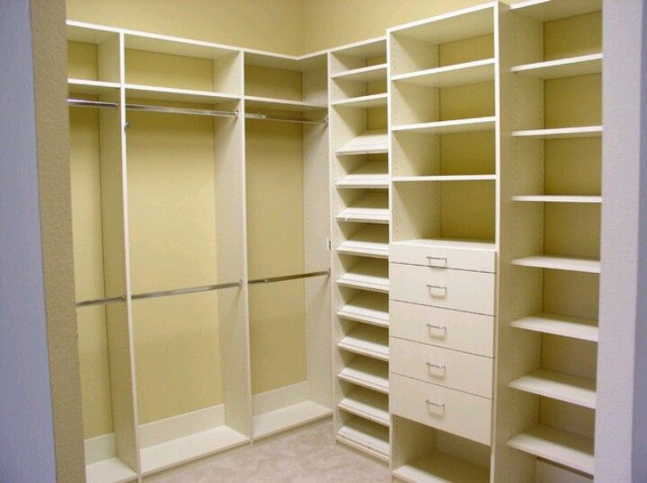 Corner closet organizer basement pinterest for Closet shelving ideas