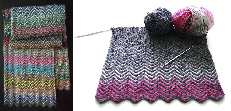This impressive looking and colorful knitted zickzack scarf is surprisingly easy to knit. The chevrons are worked with single increases and decreases.