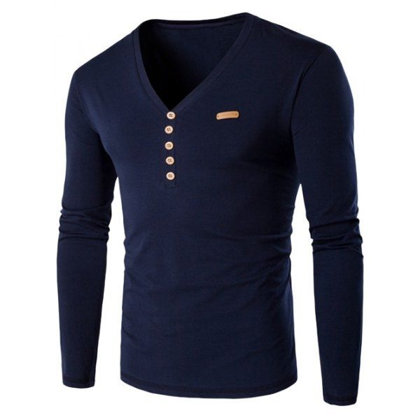 14.26$  Watch here - http://di8uo.justgood.pw/go.php?t=198261328 - V-Neck Long Sleeve Patch Design Henley Shirt 14.26$