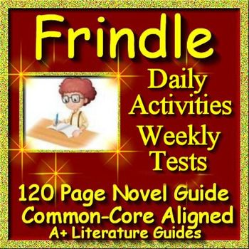 Free up your time with Frindle, a 120 page common-core aligned novel study guide for the novel by Andrew Clements. This teaching unit has everything that you will need to teach and assess the novel. The calendar guide explains the skills and activities for the day, and the weekly quizzes and final test are Common Core aligned.