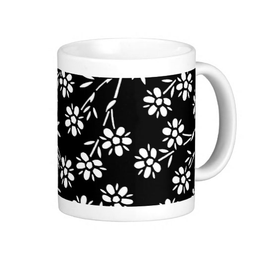 Black and White Floral Coffee Mug