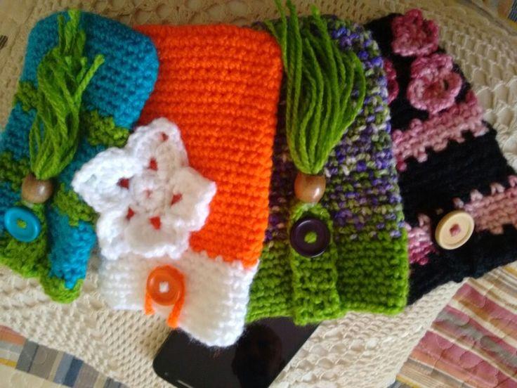 Porta celulares, crochet...lindos!