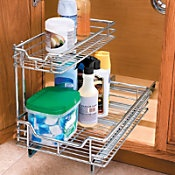 Slide-out organizers: Organizers Upstairs, Cleaning Organizing, Organizational Stuff, Slide Out Organizers, Decorating Ideas, 1 1 2 Tier Slide Out, Organizational Ideas, House, Upstairs Bathrooms