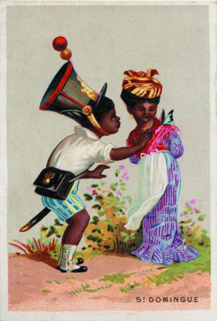 """""""Saint Domingue. Fabrique de bonbons chocolat E. Gamelin"""" [Rouen], carte publicitaire signée Baster et Vieillemard, 1902. © Coll. Groupe de recherche Achac/DR"""
