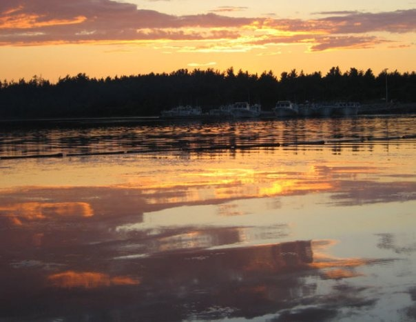 Sunset at Kouchibouguac Nat. Park NB . Water looks like its been painted with paintbrush.