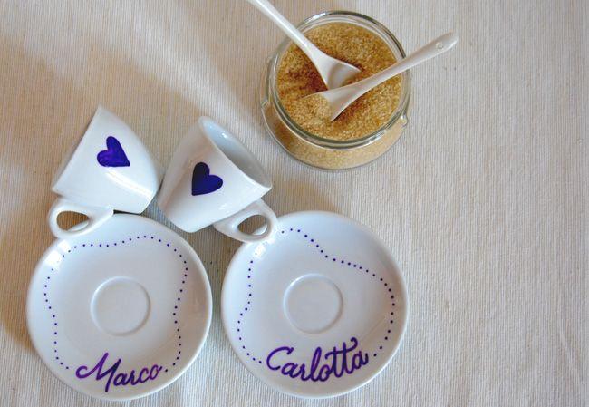 Custom coffee cups & saucers | #calligraphy #handlettering #MarikaSalerno