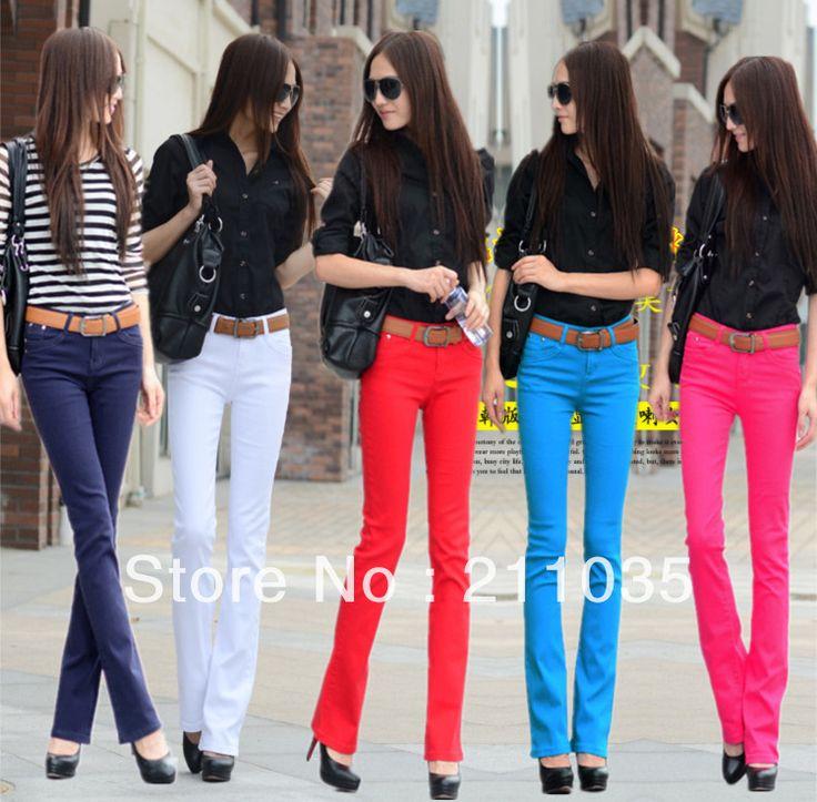 Женские осенние джинсы тонкий многоцветные женские загрузки сократить эластичные долго расклешенных брюки R93