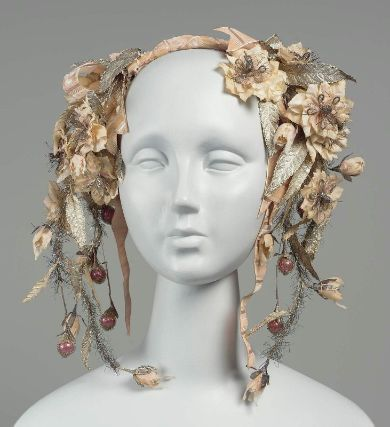 OMG | Woman's headdress.  French, worn in America (Boston), mid-19th century. Museum of Fine Arts, Boston.