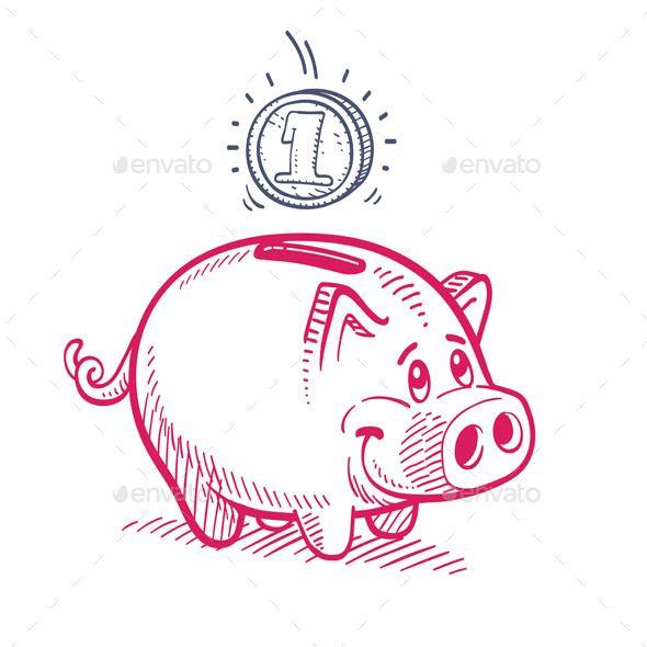 Pink Piggy Bank Drawing