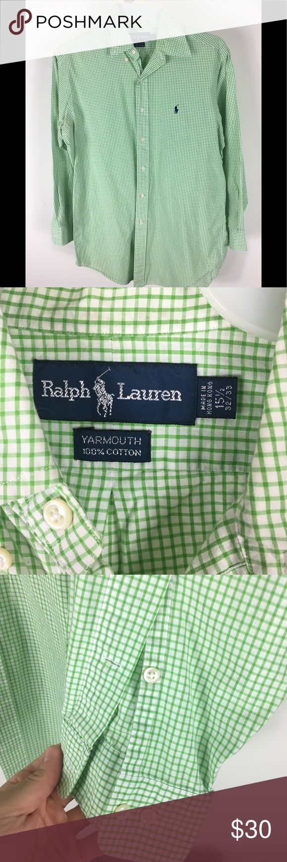Ralph Lauren Dress Shirt MEDIUM With it's modern fit and lightweight cotton, this dress shirt is a smart choice for any formal occasion. Size 15-1/2 has a 32/33 length. Button down point collar. Long sleeves with buttoned cuffs. Signature embroidered pony at the left chest. 100% cotton. Polo by Ralph Lauren Shirts Dress Shirts