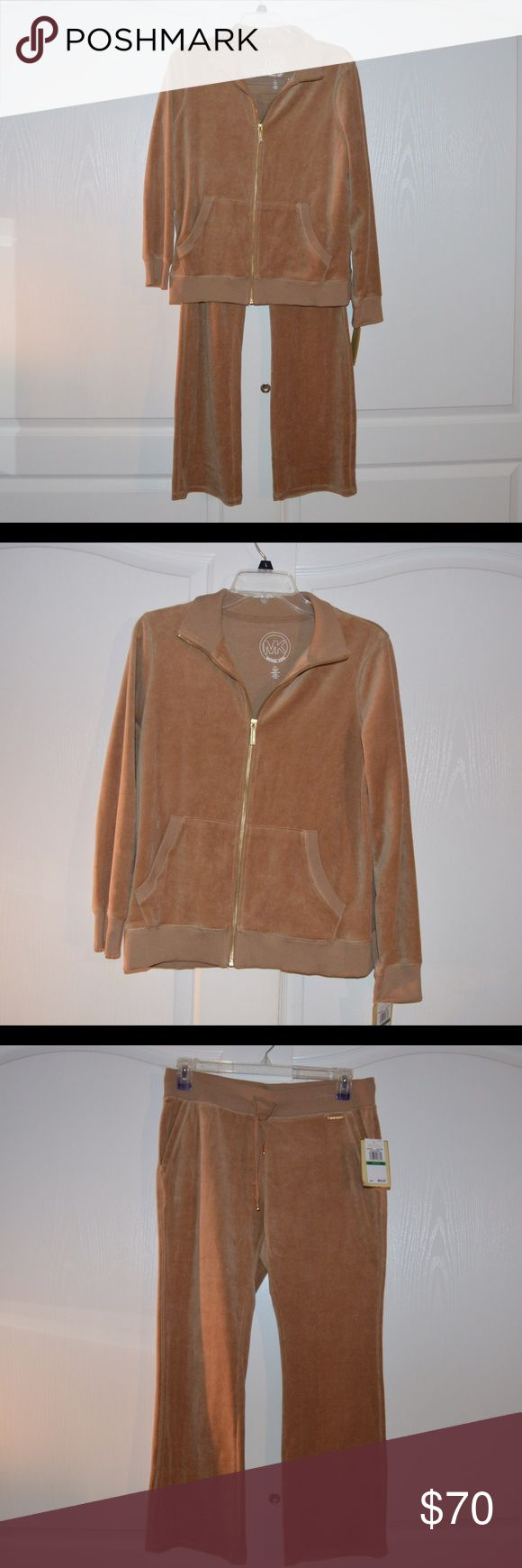 """Michael Kors SweatSuit in Dark Camel (Large) Michael Kors Sweatsuit in Dark Camel  --NEW WITH TAGS -will sell separately if needed *SIZE PETITE LARGE* -Sleek and casual zip-up in soft velour Mock neckline Zip front with gold Long sleeves Kangaroo pocket About 23"""" from shoulder to hem Cotton/polyester Michael Kors Tops Sweatshirts & Hoodies"""