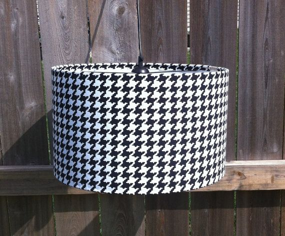 Reserved for Curlypie.... Drum lamp shade in Houndstooth fabric 14 X10 with gold spider frame via Etsy