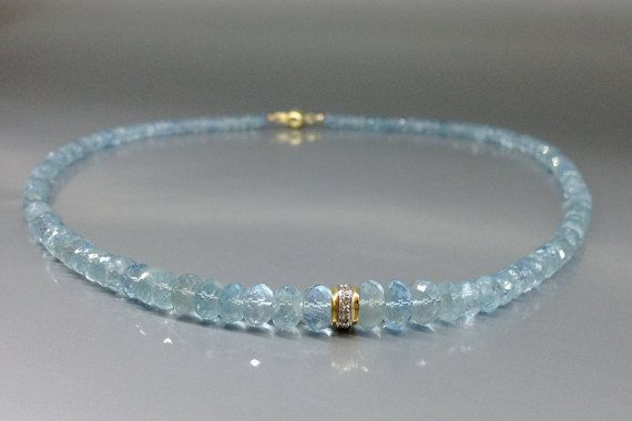 Check out Aquamarine necklace with 14K gold and Diamond elements combined to true elegance - gift idea for holiday season on gemorydesign