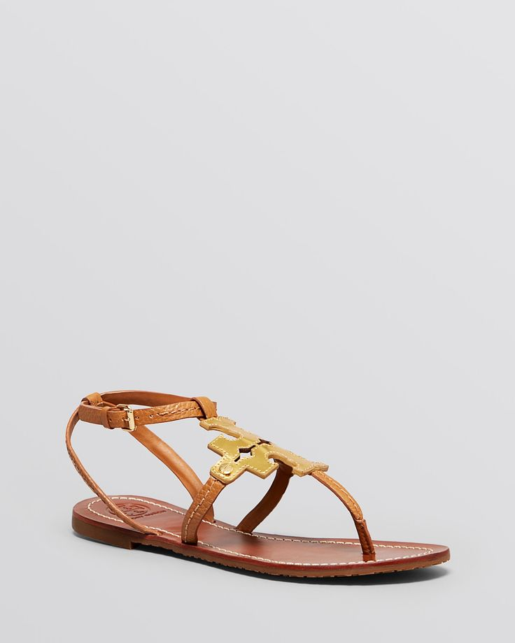 Tory Burch Women Leather Flat Thong Sandals Chandler 8 Gold ** Additional  details at the pin image, click it