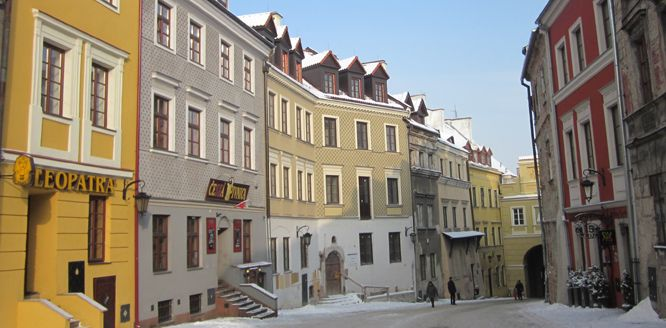 Lublin colourful old town in the snow