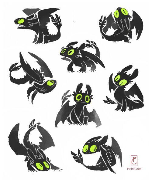 pichiicake:  Night Fury doodles