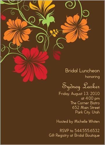 Flower Tendrils Bridal Shower Invitation