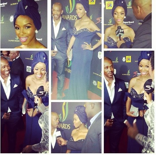 """Nhanhla Nciza """"Mafikizolo"""" wearing a stunning navy blue gown from CINNEL, at the SA Sport awards."""