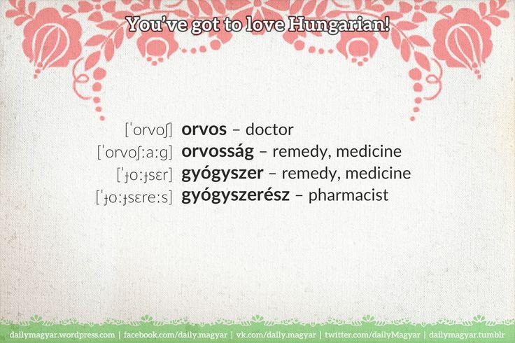 orvos – doctor orvosság – remedy, medicine gyógyszer  – remedy, medicine gyógyszerész – pharmacist  https://dailymagyar.wordpress.com/2017/02/23/gyogyszeresz/