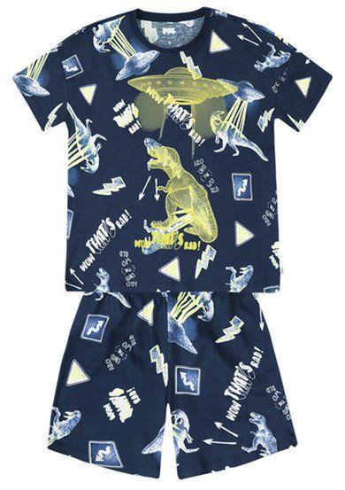 20623cd869d Pijama Infantil Menino Em Malha De Algodão Com Estampa Que Brilha No Escuro  Puc