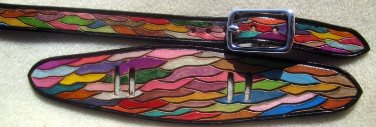 IPod Nano Made in GA USA Leather Watch Band or Wrist Band Cuff with Colorful Waves Design and Black Border Custom Sized by galeatherlady on Etsy