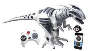 Wowee: Roboraptor X Dinosaur Robot It is huge and looks awesome. It definitely has a 'wow factor'.  It more or less hobbles around flipping it's head and tail this way and that making dinosaur noises. http://awsomegadgetsandtoysforgirlsandboys.com/wowwee/ Wowee: Roboraptor X Dinosaur Robot
