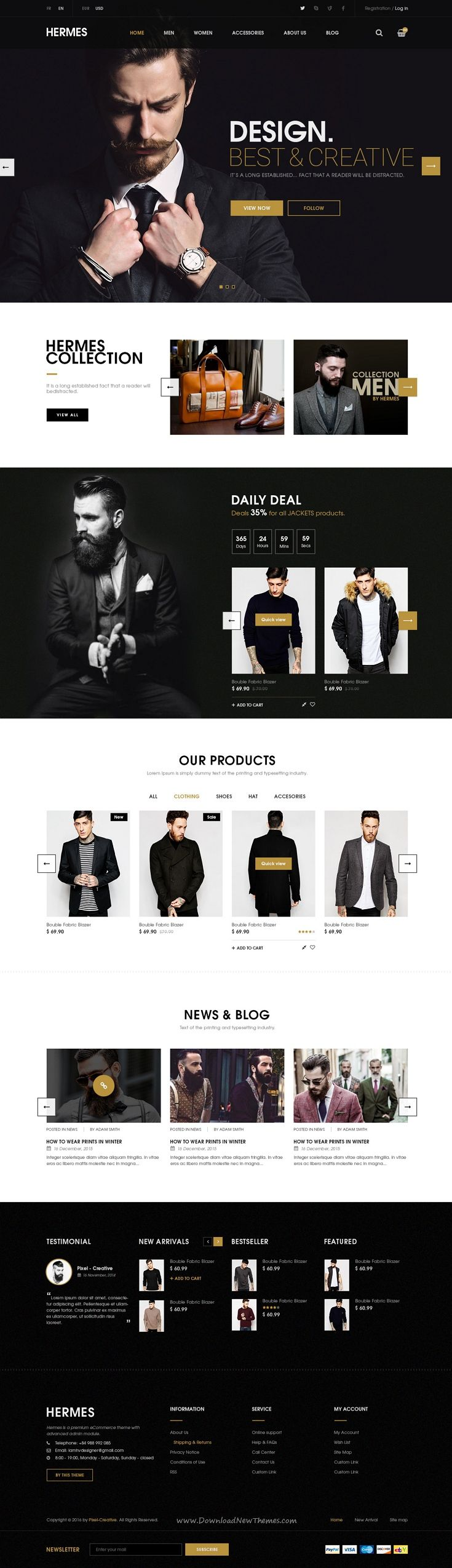 Hermes Ecommerce PSD Template is an #eCommerce #website template designed in #Photoshop with a modern look. It comes in 7 stunning homepage layouts and well organized 32 PSD files.