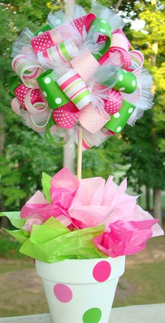 Ribbon ... Easy to do centerpiece for parties! This would be cute for a baby shower by tamra
