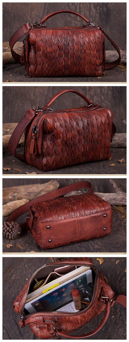 Women's Fashion Leather Handbag Messenger Bag Shoulder Bag Small Satchel in Red DD101 Overview: Design: Women Fashion Handbag In Stock: 3-5 days For Making Leather: Vegetable Tanned Leather Measures: