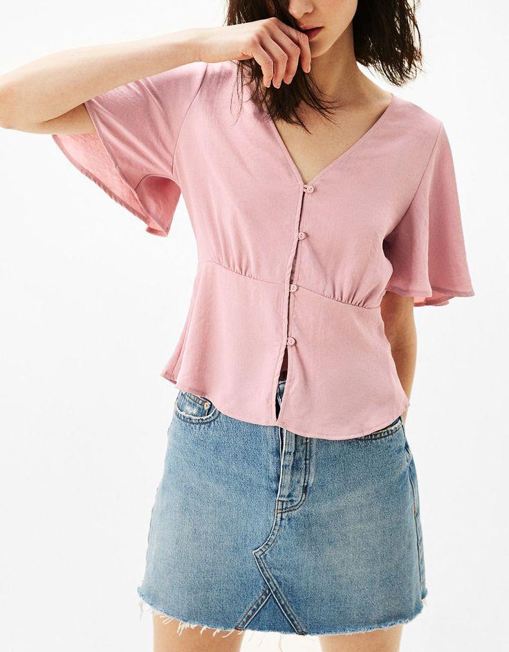 Wijde blouse met knopen - New - Bershka Netherlands
