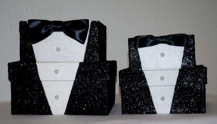 """Wedding TUXEDO Gift Box by TheBouncingFrogs on Etsy. What a fantastic way for the Groom to give his Groomsmen their gifts in a cool, keepsake box. Or a bride giving the groom a before wedding present. Such an unusual and fun way to give a gift! 6"""" by 6"""" ......$18.00.....5"""" by 4 1/2"""" $15.00 #decoratedgiftboxes #handmadegiftboxes #decoratedboxes #weddings #groomsmen www.etsy.com/..."""