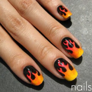 I love these!!!! En fuego!!: Flames Nails, Nails Art, Fingernail Polish Ideas, Black Nails, Hunger Games, Fun Ideas, Fire Nails, Nails Polish, Hot Rods