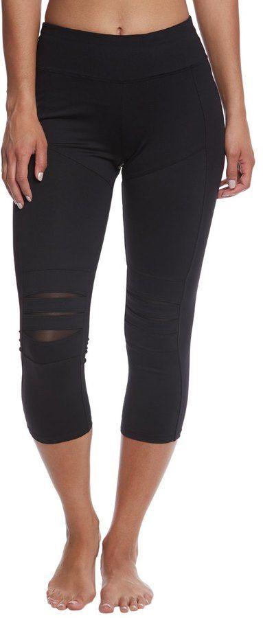 Betsey Johnson Slashed Knee Yoga Capri Leggings 8158481
