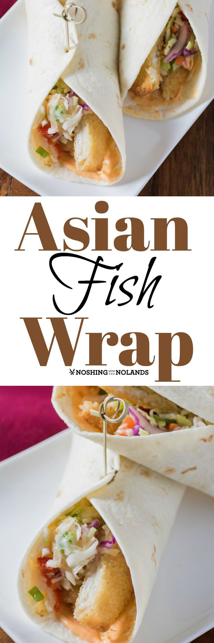 Asian Fish Wrap by Noshing With The Nolands is made simple using Janes ultimates Fish Panko Breaded Sole! It is crispy and delicious paired with the Asian slaw and Sriracha mayo!! #ad