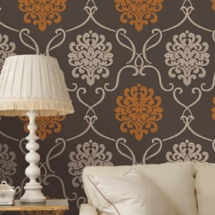 Damask Choc/Orange Wallpaper by Fine Decor DL30445