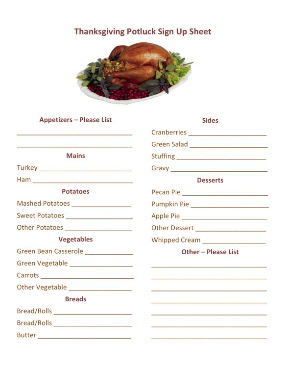 Thanksgiving Potluck Signup