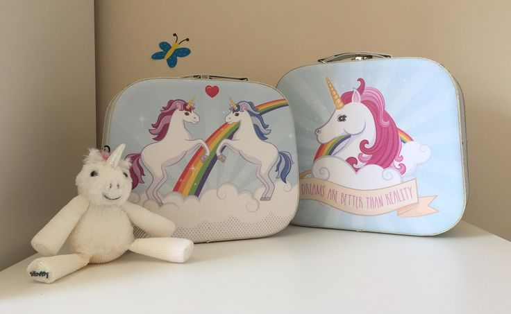 Enchanted unicorn mini suit cases set of 2 'dreams are better than reality'