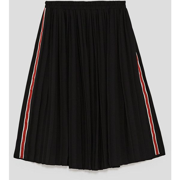 PLEATED SKIRT WITH SIDE STRIPES - View All-SKIRTS-WOMAN-SALE | ZARA... (€33) ❤ liked on Polyvore featuring skirts