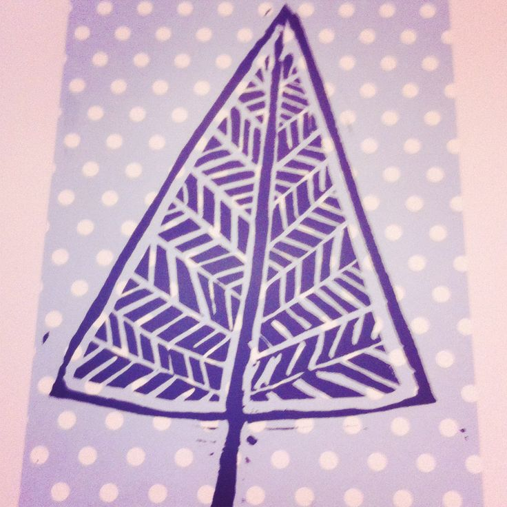 Christmas tree... Origami paper and Lino prints by Ellie Mummmery