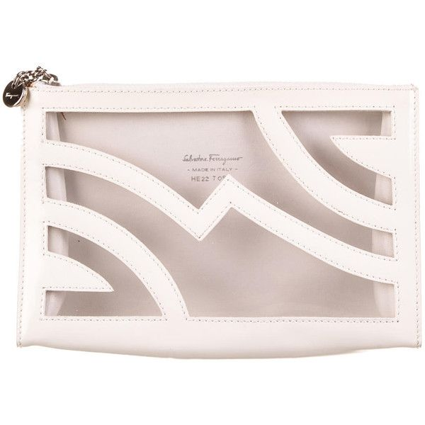 Pre-owned Salvatore Ferragamo Cosmetic Bag found on Polyvore featuring beauty products, beauty accessories, bags & cases, white, travel dopp kit, clear makeup bags, wash bag, clear travel bag and toiletry bag