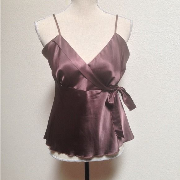🔥Bisou Bisou Brown Cami/Halter Top Sz L Worn x 2. Marked a size 14 but it fits like a medium. Very cute, can be dressy or casual and it goes great under a blazer or jacket. Simple & cute Bisou Bisou Tops Camisoles