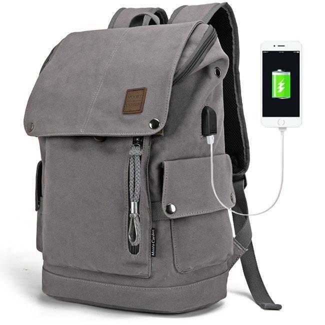 Travel Backpack Students USB Computer Bag Backpack Outdoor Leisure Mens Doubles Shoulder Bag School Students Shoulder Bag Color : Gray, Size : 20 INCHES