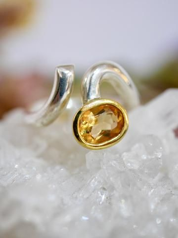 Citrine ring with gold detail
