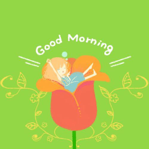 かわいい/可愛い/キュート/CUTE/Cute/親指姫/おやゆび姫/おやゆびひめ/アンデルセン/童話/物語/お姫様/プリンセス/ツバメ/寝起き/朝/目覚め/寝ぼけ/起きる/チューリップ/花/緑