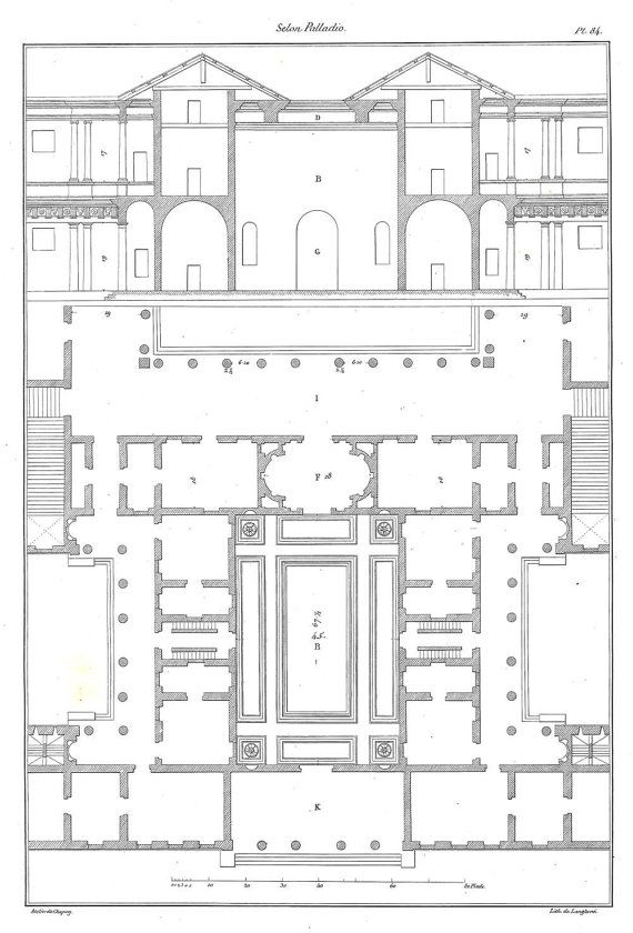 1842 architectural print floor plan and elevation for Floor prints