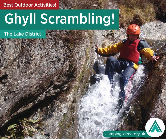 Outdoor Activity: Ghyll scrambling in the Lake District is an invigorating and challenging activity, involving working your way up or down rocks and in and out of  the water in a pristine Lake District stream. Outdoors. Camping. Campsite. Holiday. UK. Travel. England. Adventure.