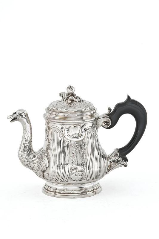 Silver Teapot (head and neck of a swan as the spout), Edme-François Godin (craftsman); Paris, 1749/1750. Silver wit ebony handle. Les Arts Decoratifs