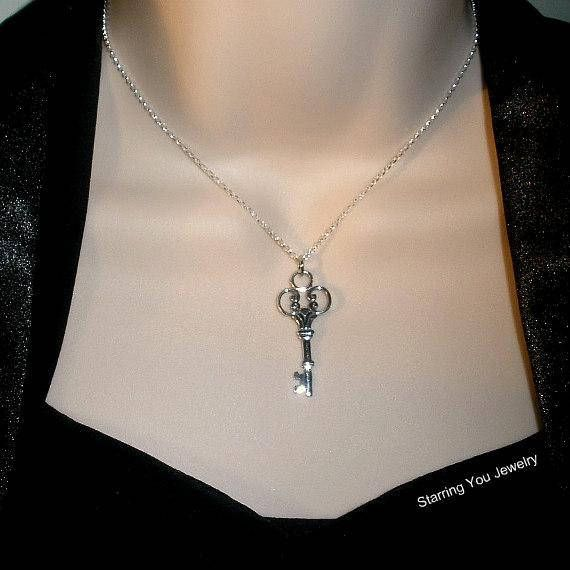 Sterling Silver Skeleton Key Necklace   from Starring You jewelry